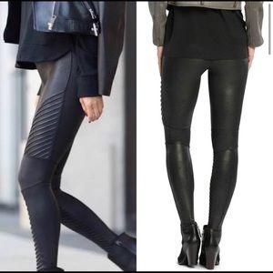 NWT Spanx Faux Black Leather Moto Leggings XS